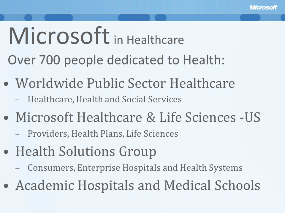 Microsoft in Healthcare Over 700 people dedicated to Health: Worldwide Public Sector Healthcare –Healthcare, Health and Social Services Microsoft Healthcare & Life Sciences -US –Providers, Health Plans, Life Sciences Health Solutions Group –Consumers, Enterprise Hospitals and Health Systems Academic Hospitals and Medical Schools