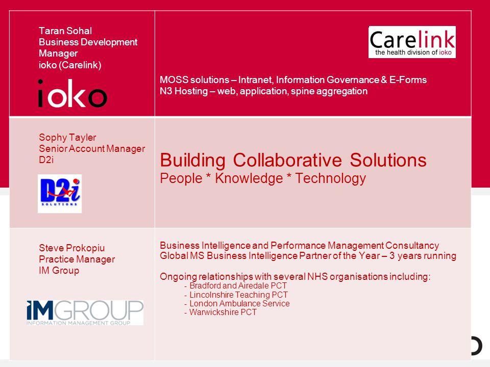 Taran Sohal Business Development Manager ioko (Carelink) MOSS solutions – Intranet, Information Governance & E-Forms N3 Hosting – web, application, sp