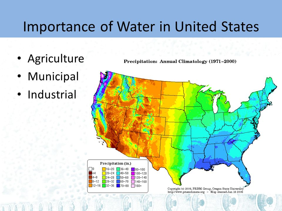 Importance of Water in United States Agriculture Municipal Industrial