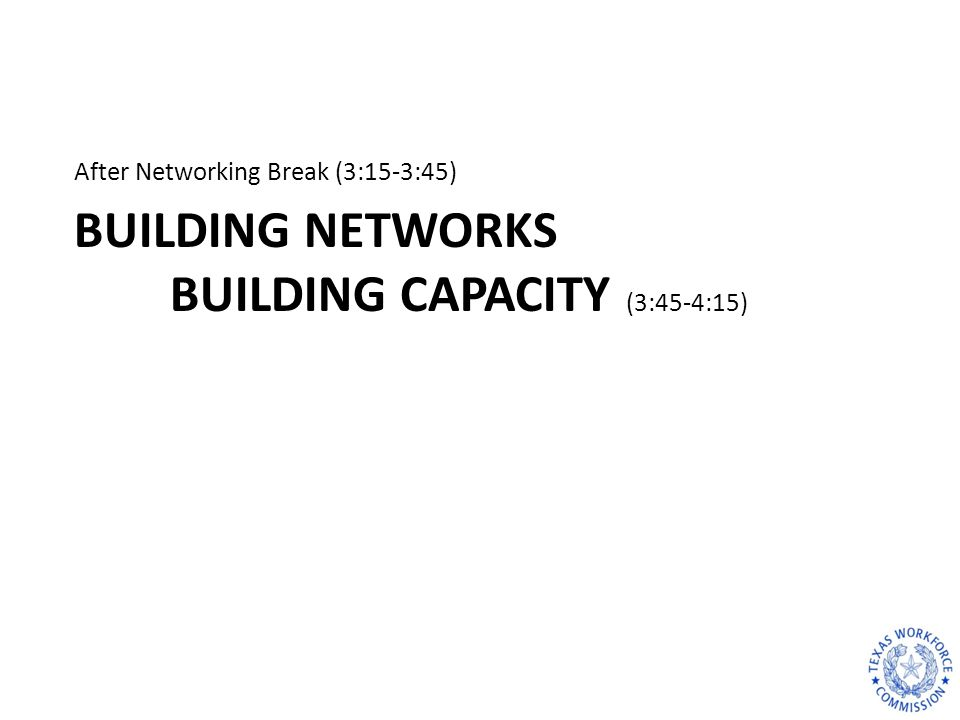 BUILDING NETWORKS BUILDING CAPACITY (3:45-4:15) After Networking Break (3:15-3:45)