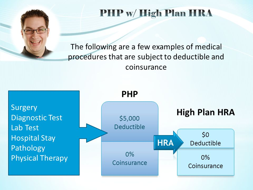 0% Coinsurance $0 Deductible $5,000 Deductible 0% Coinsurance PHP High Plan HRA Surgery Diagnostic Test Lab Test Hospital Stay Pathology Physical Ther