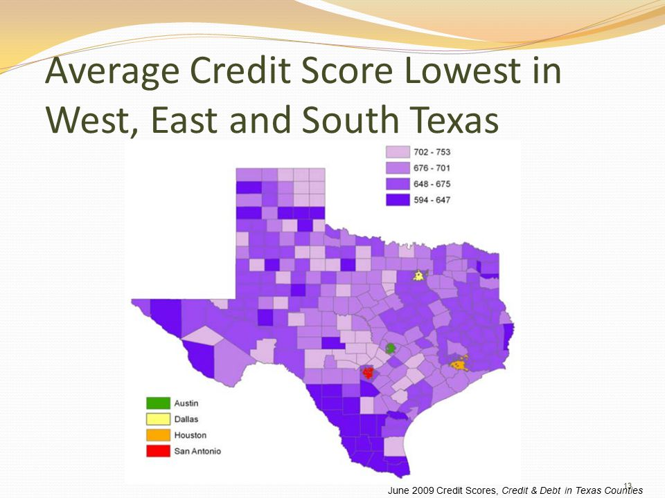 Average Credit Score Lowest in West, East and South Texas June 2009 Credit Scores, Credit & Debt in Texas Counties 13