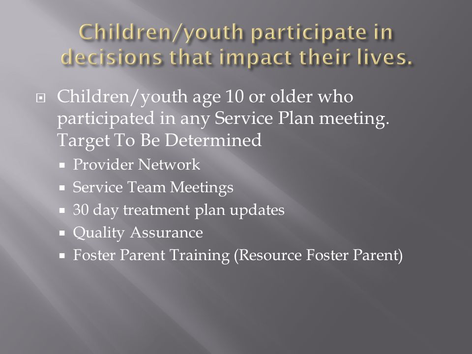  Children/youth age 10 or older who participated in any Service Plan meeting.