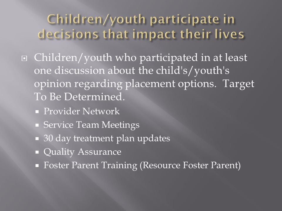  Children/youth who participated in at least one discussion about the child s/youth s opinion regarding placement options.