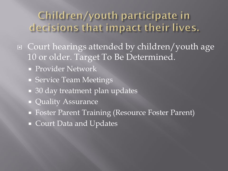  Court hearings attended by children/youth age 10 or older.