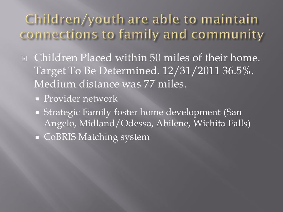  Children Placed within 50 miles of their home.Target To Be Determined.