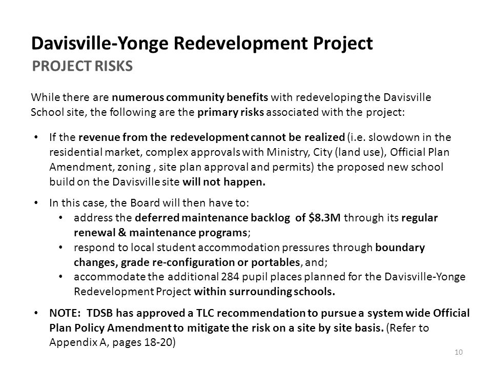 Davisville-Yonge Redevelopment Project If the revenue from the redevelopment cannot be realized (i.e.