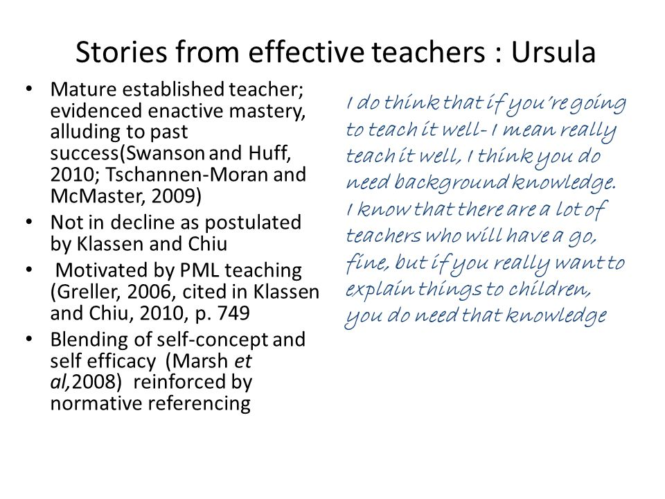 Stories from effective teachers : Ursula Mature established teacher; evidenced enactive mastery, alluding to past success(Swanson and Huff, 2010; Tsch