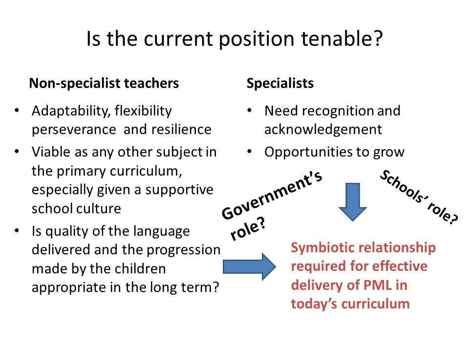 Is the current position tenable? Non-specialist teachers Adaptability, flexibility perseverance and resilience Viable as any other subject in the prim