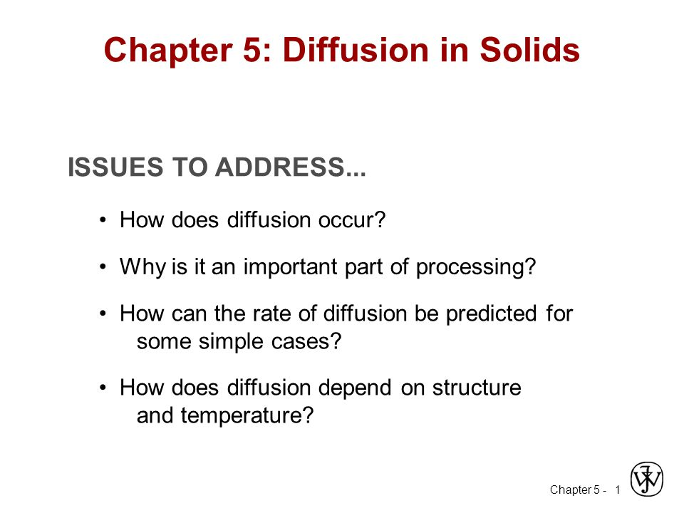 Chapter 5 - 1 ISSUES TO ADDRESS... How does diffusion occur? Why is it an important part of processing? How can the rate of diffusion be predicted for
