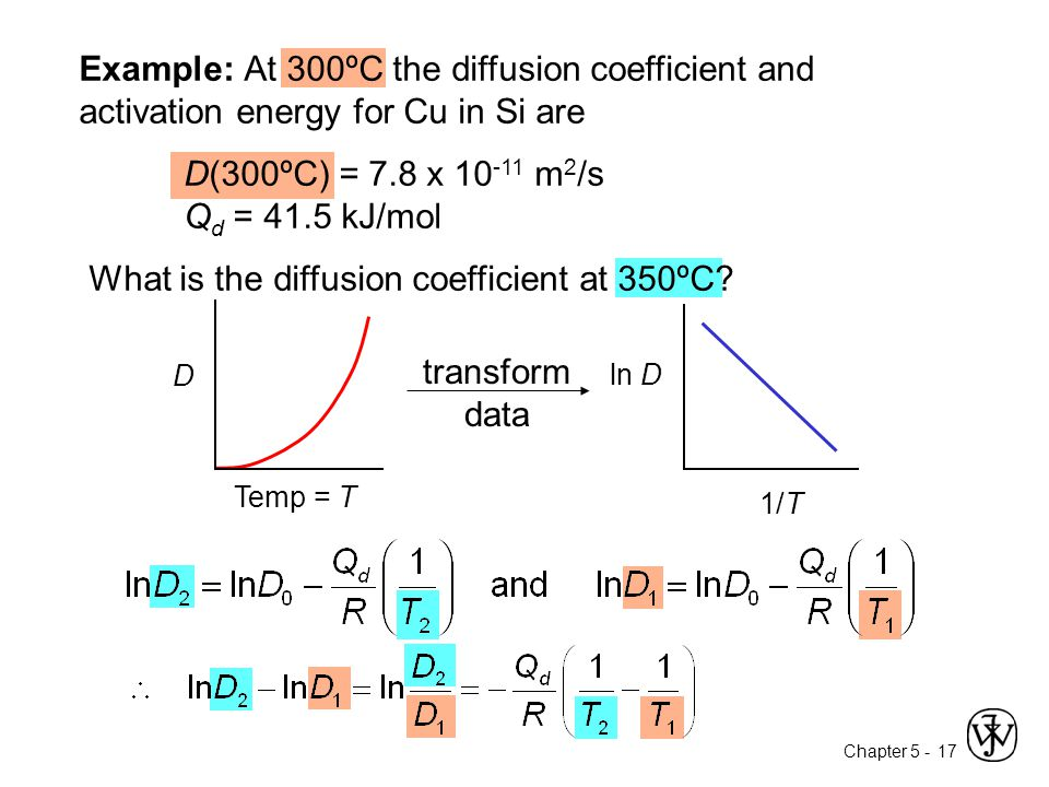 Chapter 5 - 17 Example: At 300ºC the diffusion coefficient and activation energy for Cu in Si are D(300ºC) = 7.8 x 10 -11 m 2 /s Q d = 41.5 kJ/mol Wha