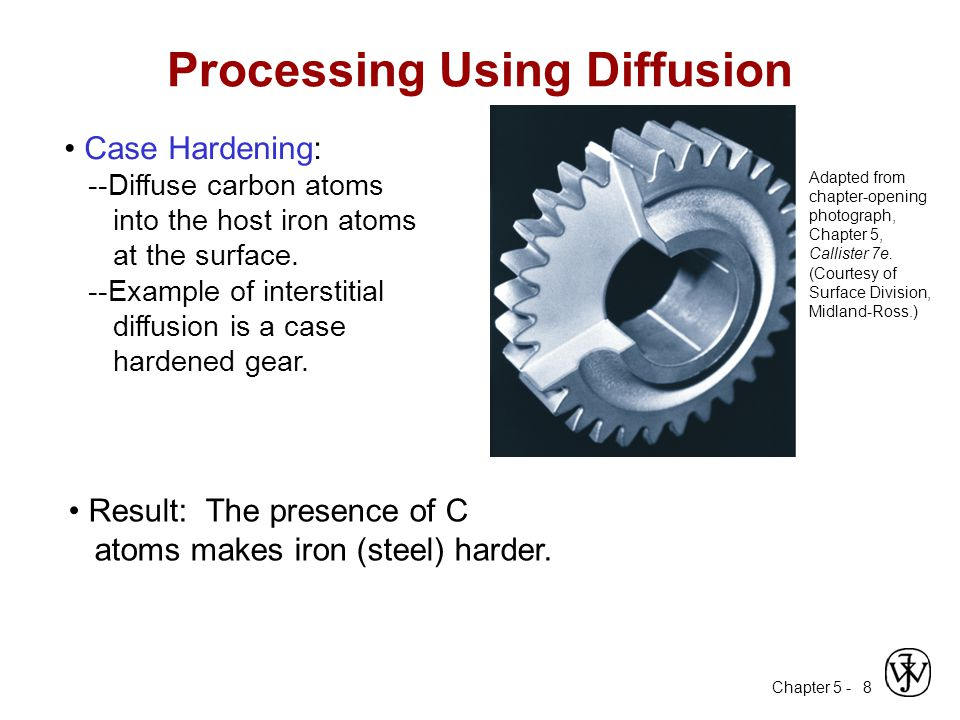 Chapter 5 - 8 Adapted from chapter-opening photograph, Chapter 5, Callister 7e. (Courtesy of Surface Division, Midland-Ross.) Case Hardening: --Diffus