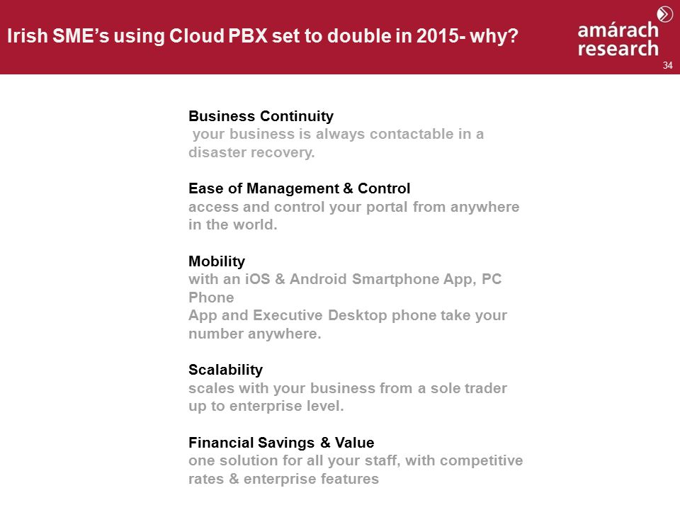 34 Irish SME's using Cloud PBX set to double in 2015- why.