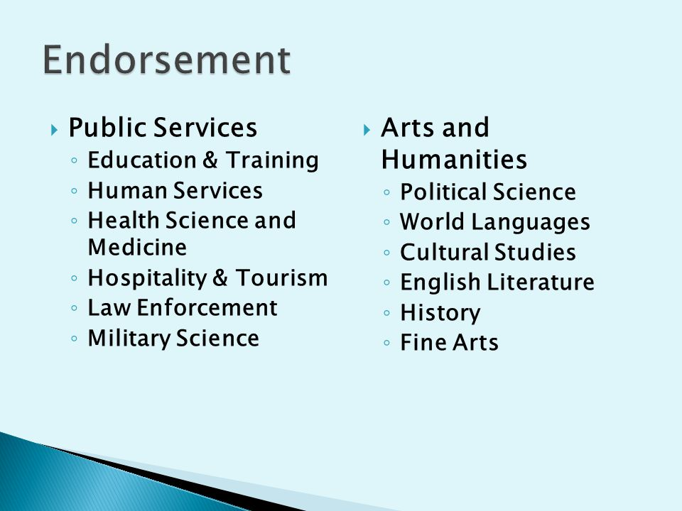  Public Services ◦ Education & Training ◦ Human Services ◦ Health Science and Medicine ◦ Hospitality & Tourism ◦ Law Enforcement ◦ Military Science  Arts and Humanities ◦ Political Science ◦ World Languages ◦ Cultural Studies ◦ English Literature ◦ History ◦ Fine Arts