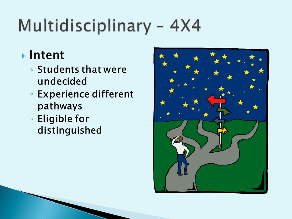  Intent ◦ Students that were undecided ◦ Experience different pathways ◦ Eligible for distinguished