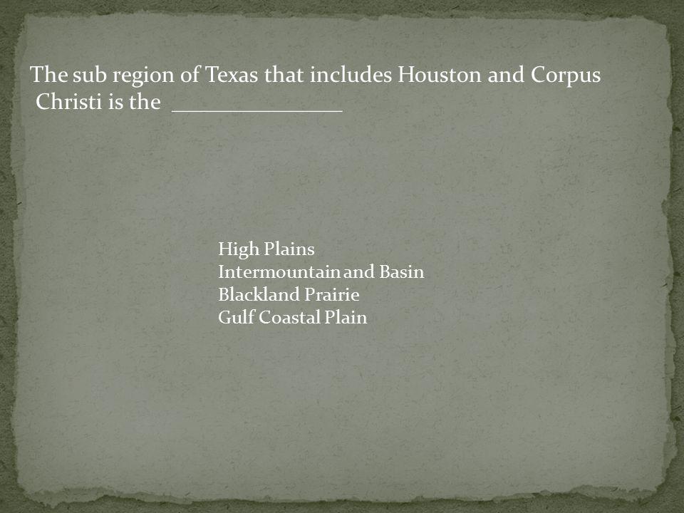 The sub region of Texas that includes Houston and Corpus Christi is the _______________ High Plains Intermountain and Basin Blackland Prairie Gulf Coastal Plain