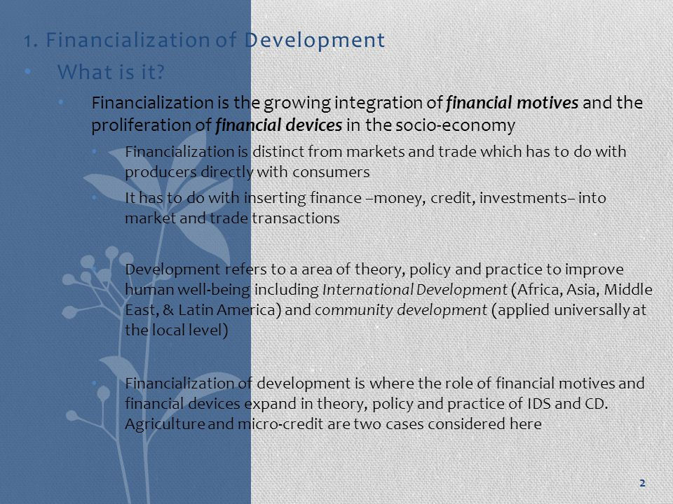 1. Financialization of Development What is it.
