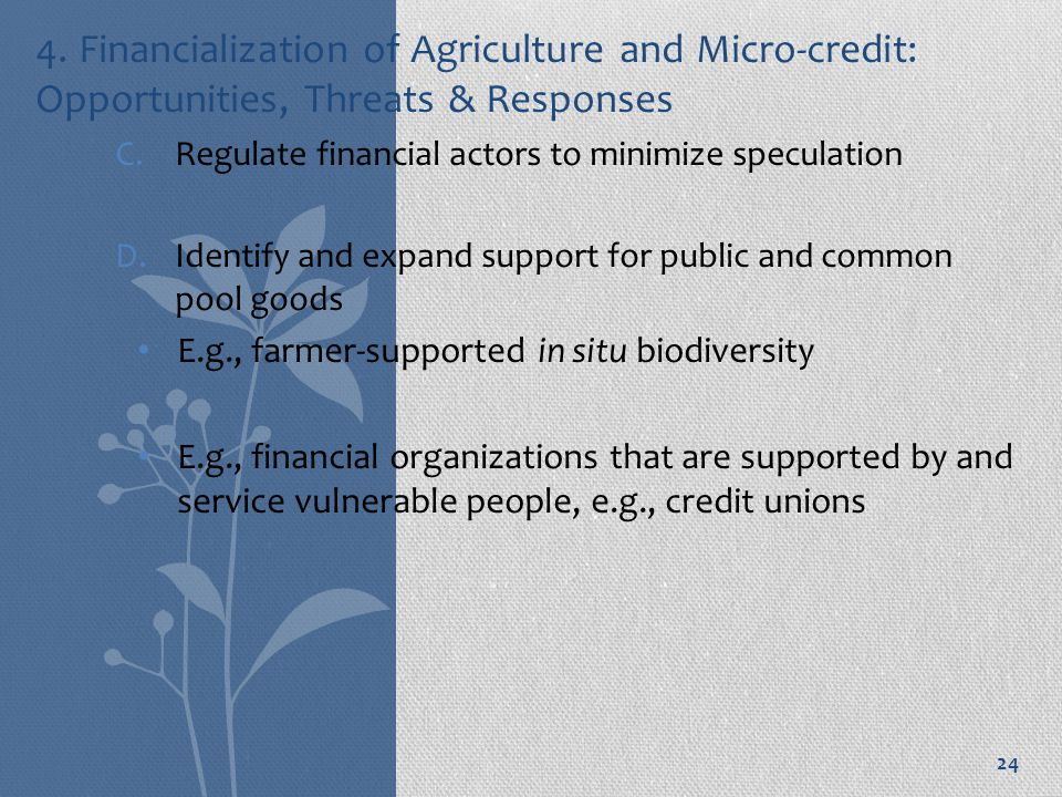 4. Financialization of Agriculture and Micro-credit: Opportunities, Threats & Responses C.Regulate financial actors to minimize speculation D.Identify