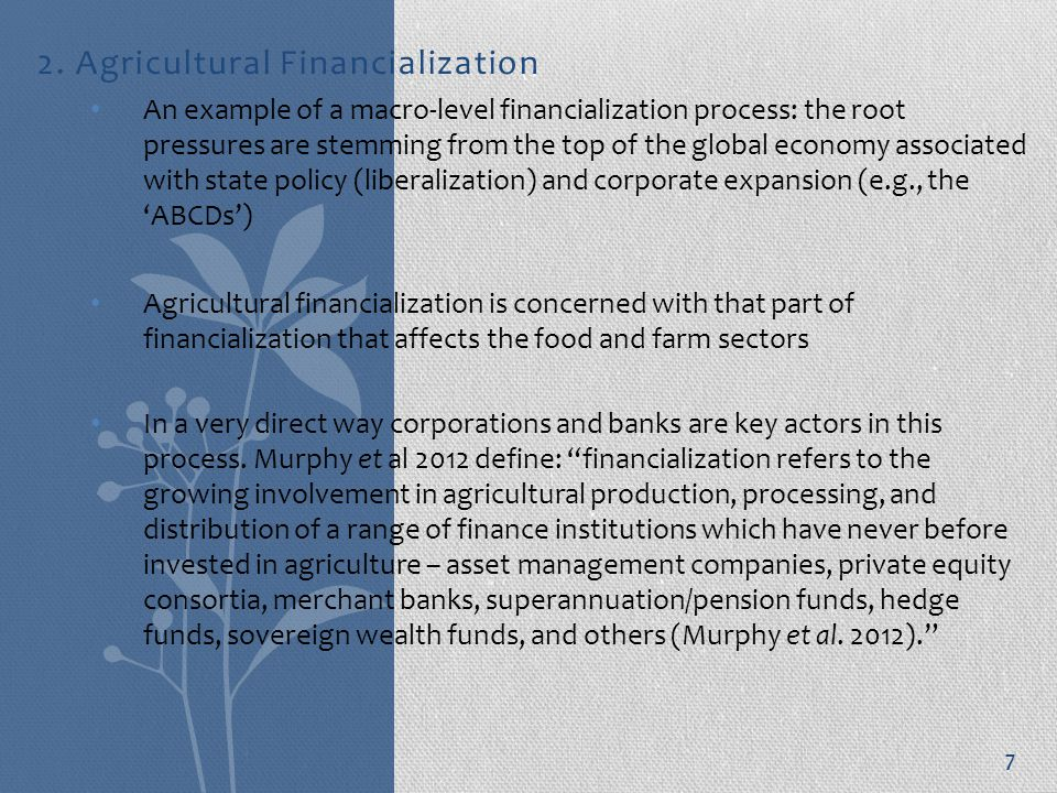 2. Agricultural Financialization An example of a macro-level financialization process: the root pressures are stemming from the top of the global econ