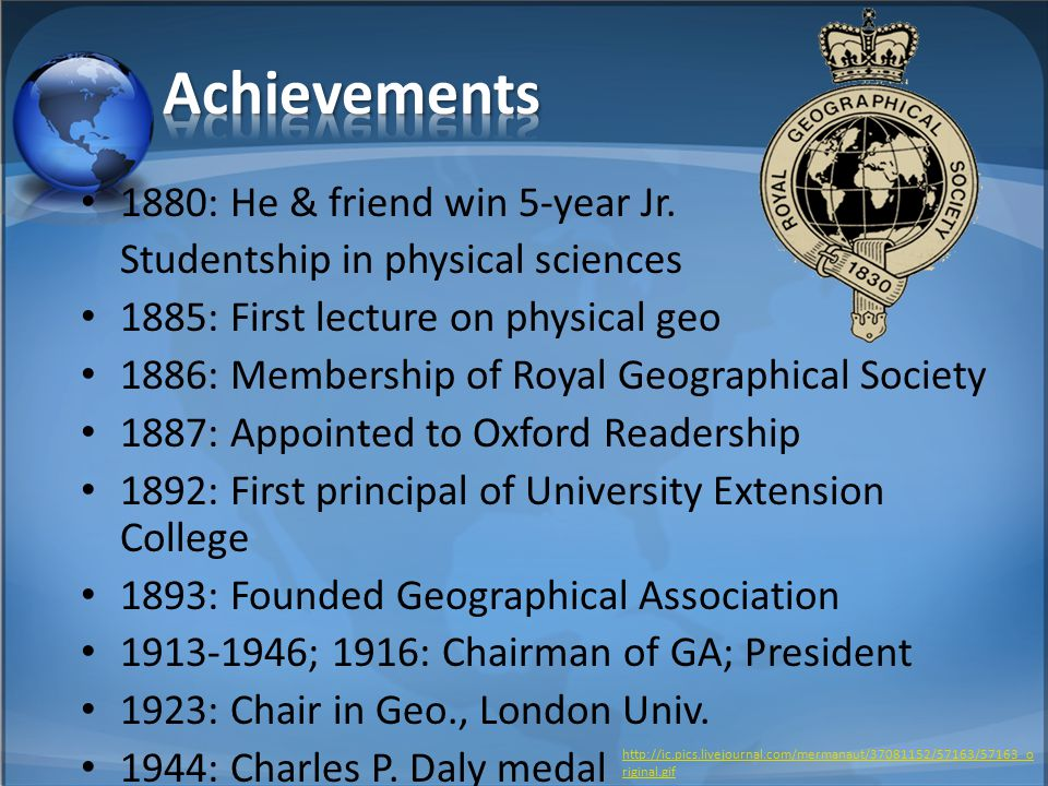 1880: He & friend win 5-year Jr. Studentship in physical sciences 1885: First lecture on physical geo 1886: Membership of Royal Geographical Society 1