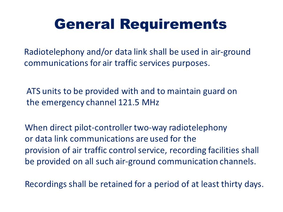 Radiotelephony and/or data link shall be used in air-ground communications for air traffic services purposes.