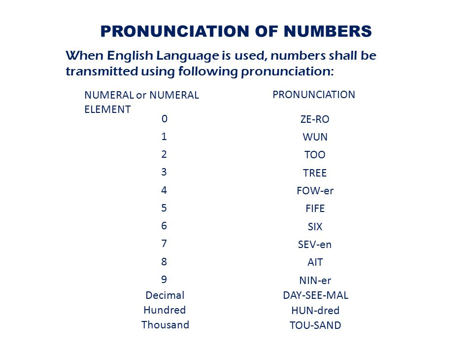 PRONUNCIATION OF NUMBERS When English Language is used, numbers shall be transmitted using following pronunciation: NUMERAL or NUMERAL ELEMENT PRONUNCIATION 0 1 2 3 4 5 6 8 7 9 ZE-RO WUN TOO TREE AIT SEV-en SIX FIFE FOW-er NIN-er Decimal Hundred Thousand DAY-SEE-MAL HUN-dred TOU-SAND