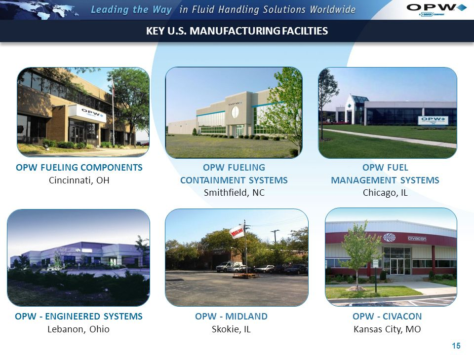 15 KEY U.S. MANUFACTURING FACILTIES OPW FUELING COMPONENTS Cincinnati, OH OPW FUELING CONTAINMENT SYSTEMS Smithfield, NC OPW FUEL MANAGEMENT SYSTEMS C