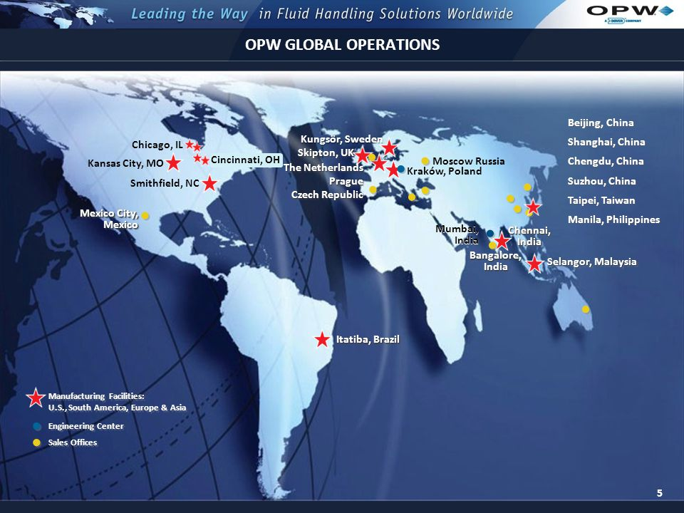 5 OPW GLOBAL OPERATIONS 5 Sales Offices Manufacturing Facilities: U.S., South America, Europe & Asia Chicago, IL Cincinnati, OH Smithfield, NC Mexico