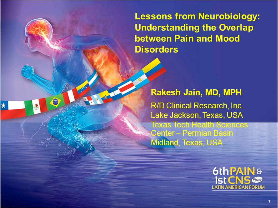 Lessons from Neurobiology: Understanding the Overlap between Pain and Mood Disorders Rakesh Jain, MD, MPH R/D Clinical Research, Inc.