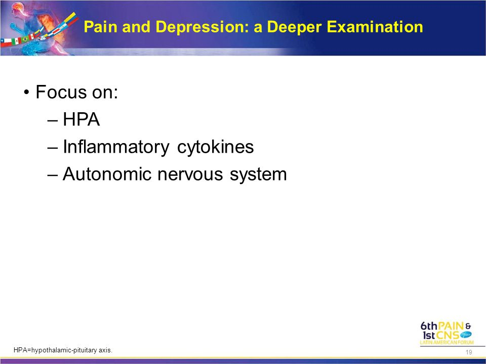 Pain and Depression: a Deeper Examination Focus on: –HPA –Inflammatory cytokines –Autonomic nervous system HPA=hypothalamic-pituitary axis. 19