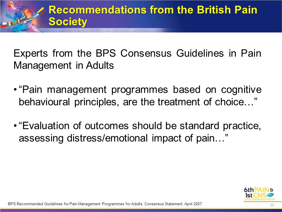 "Recommendations from the British Pain Society Experts from the BPS Consensus Guidelines in Pain Management in Adults ""Pain management programmes based"