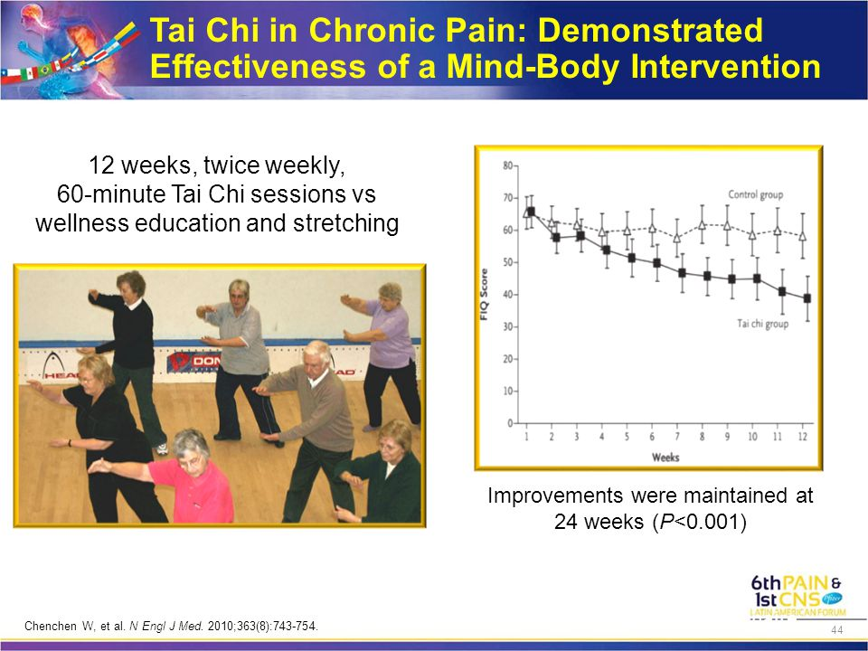 Tai Chi in Chronic Pain: Demonstrated Effectiveness of a Mind-Body Intervention Tai Chi group, n=33 Control group, n= 33 12 weeks, twice weekly, 60-minute Tai Chi sessions vs wellness education and stretching FIQ = FM impact questionnaire.