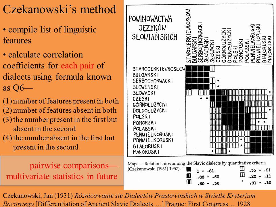 Czekanowski's method compile list of linguistic features calculate correlation coefficients for each pair of dialects using formula known as Q6— (1)number of features present in both (2)number of features absent in both (3)the number present in the first but absent in the second (4)the number absent in the first but present in the second Czekanowski, Jan (1931) Róznicowanie sie Dialectów Prastowinskich w Swietle Kryterjum Ilociowego [Differentiation of Ancient Slavic Dialects….] Prague: First Congress… 1928 pairwise comparisons— multivariate statistics in future