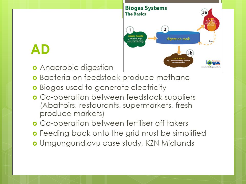 AD  Anaerobic digestion  Bacteria on feedstock produce methane  Biogas used to generate electricity  Co-operation between feedstock suppliers (Abattoirs, restaurants, supermarkets, fresh produce markets)  Co-operation between fertiliser off takers  Feeding back onto the grid must be simplified  Umgungundlovu case study, KZN Midlands