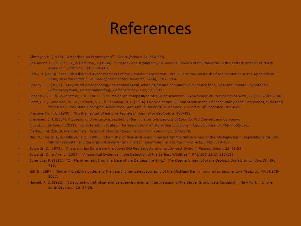 References Altmeyer, H. (1973). Astnarben an Prototaxiten Der Aufschluss 24, 350-356.