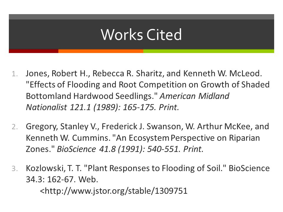 Works Cited 1. Jones, Robert H., Rebecca R. Sharitz, and Kenneth W.