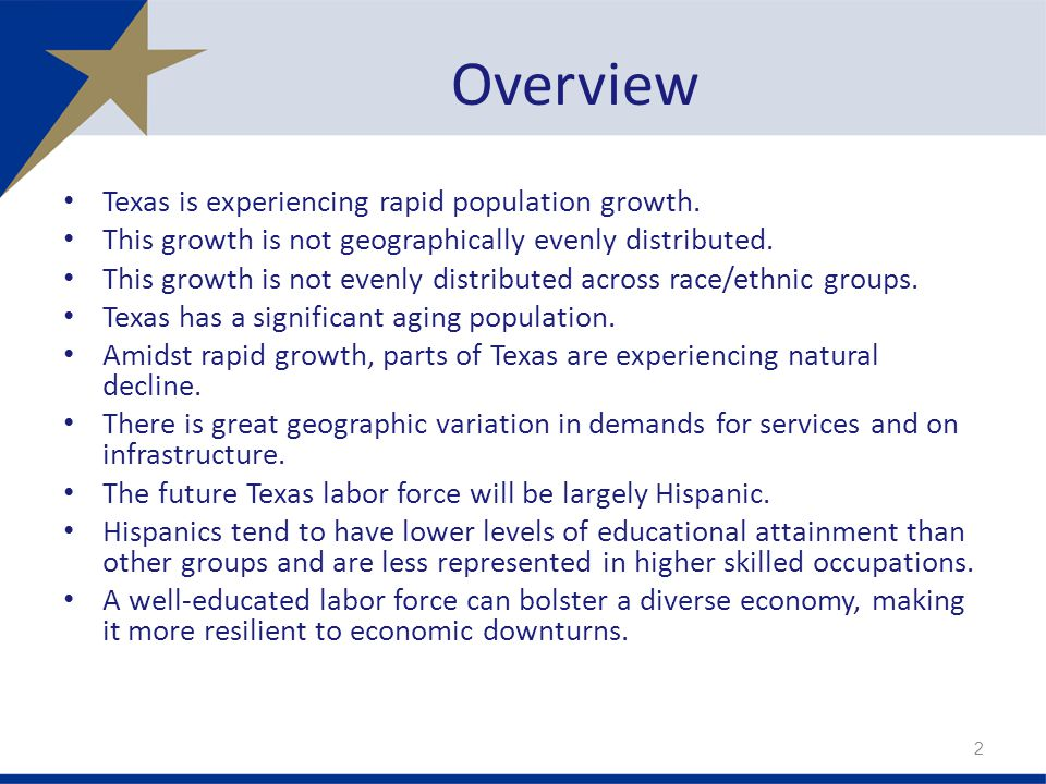Overview Texas is experiencing rapid population growth. This growth is not geographically evenly distributed. This growth is not evenly distributed ac