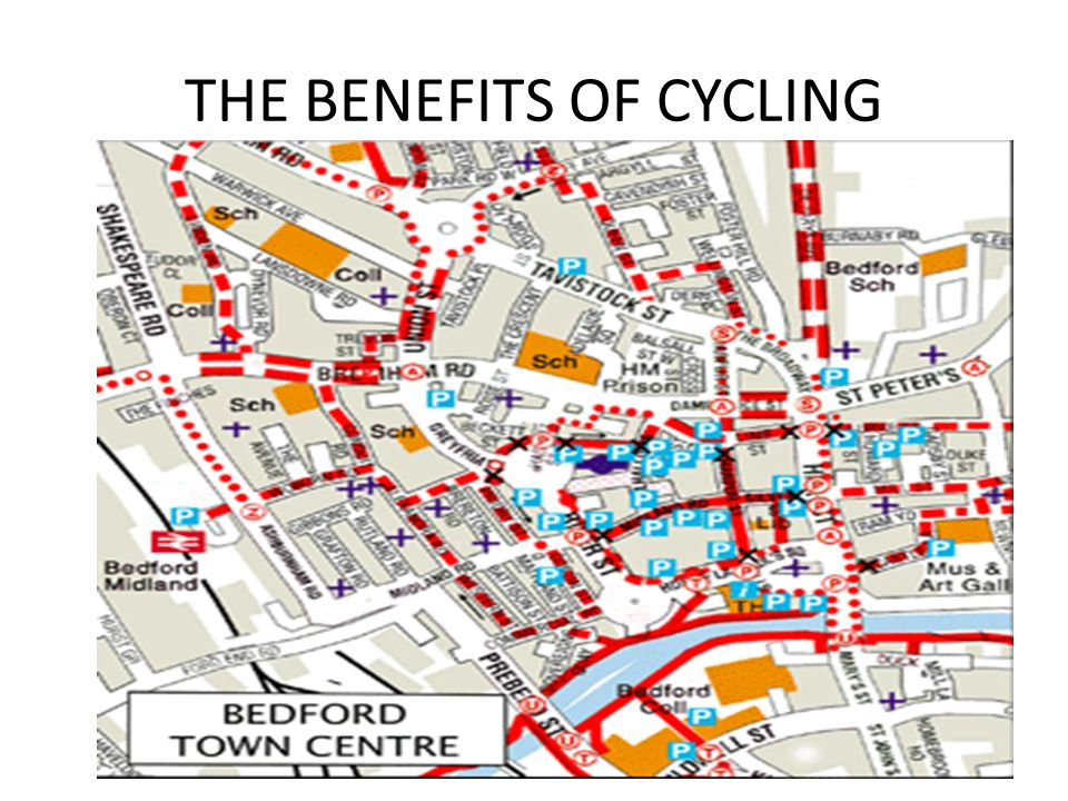 As you can see from the previous slide, in Bedford town centre alone, there are loads of cycle paths/lanes.