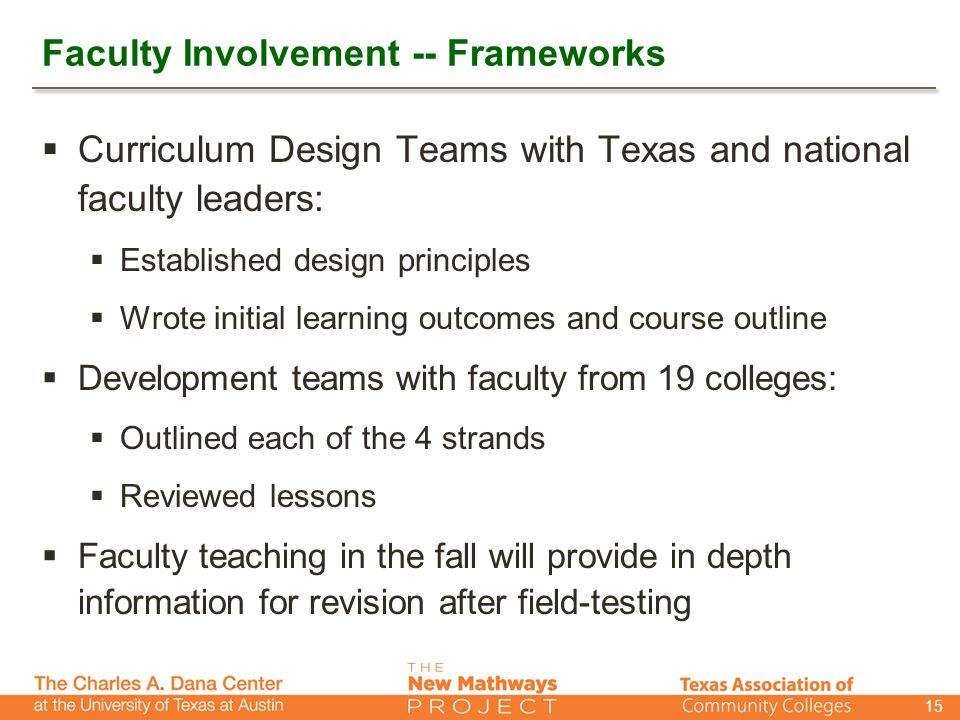 Faculty Involvement -- Frameworks  Curriculum Design Teams with Texas and national faculty leaders:  Established design principles  Wrote initial learning outcomes and course outline  Development teams with faculty from 19 colleges:  Outlined each of the 4 strands  Reviewed lessons  Faculty teaching in the fall will provide in depth information for revision after field-testing 15