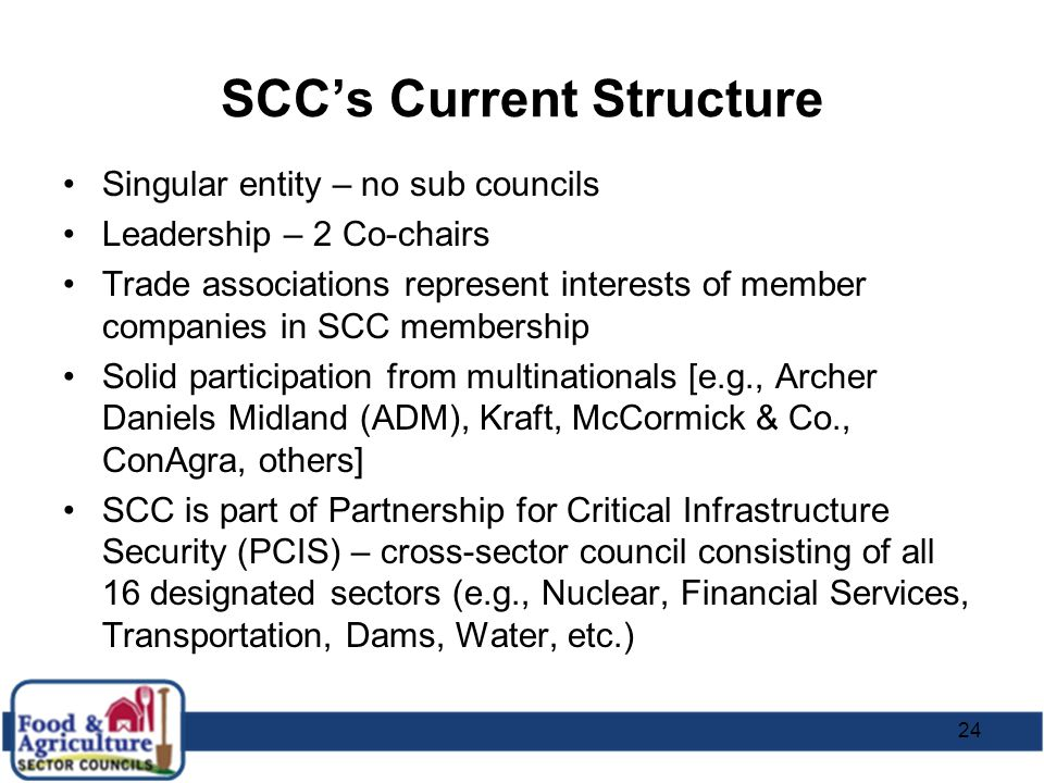 24 SCC's Current Structure Singular entity – no sub councils Leadership – 2 Co-chairs Trade associations represent interests of member companies in SC