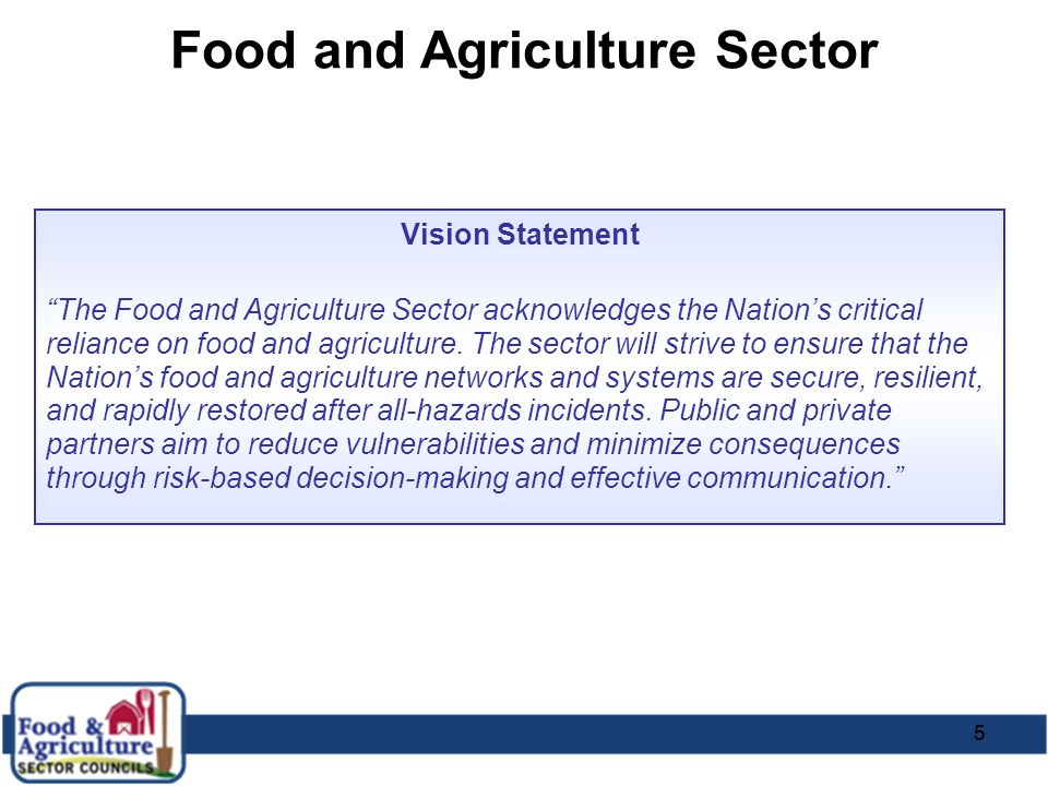 "55 Food and Agriculture Sector Vision Statement ""The Food and Agriculture Sector acknowledges the Nation's critical reliance on food and agriculture."