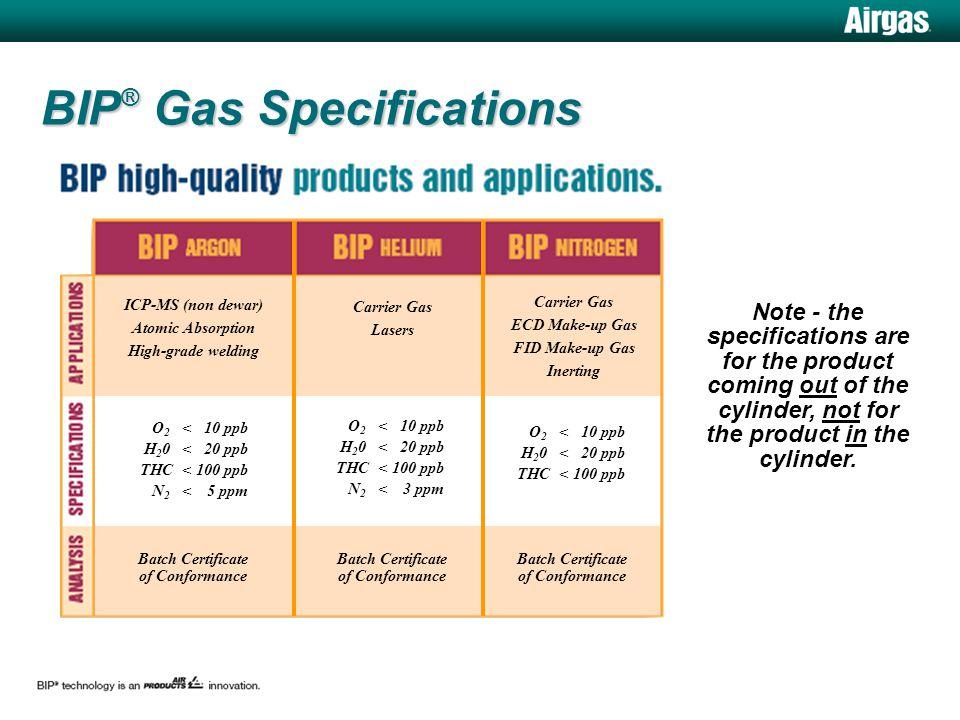 BIP ® Gas Specifications O 2 <10 ppb H 2 0<20 ppb THC<100 ppb Batch Certificate of Conformance O 2 <10 ppb H 2 0<20 ppb THC<100 ppb N 2 <3 ppm O 2 <10