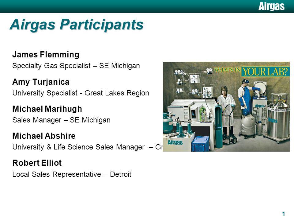 Airgas Participants James Flemming Specialty Gas Specialist – SE Michigan Amy Turjanica University Specialist - Great Lakes Region Michael Marihugh Sa