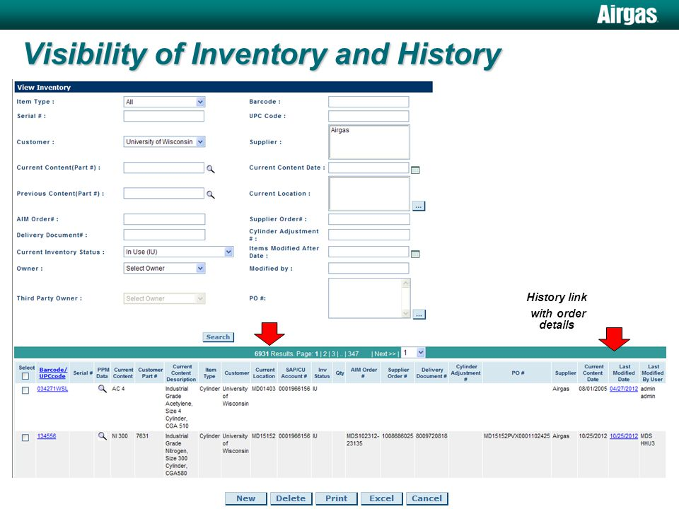 Visibility of Inventory and History History link with order details