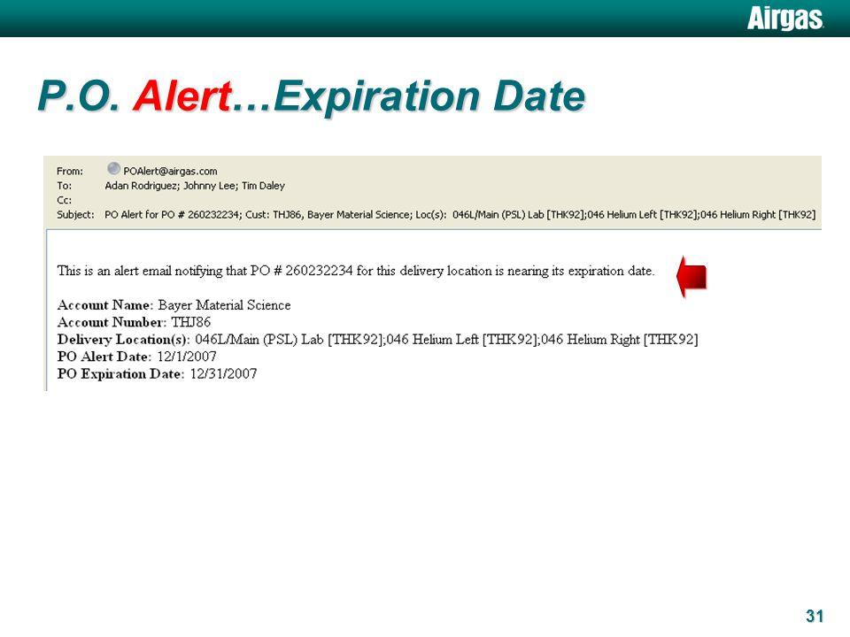31 P.O. Alert…Expiration Date