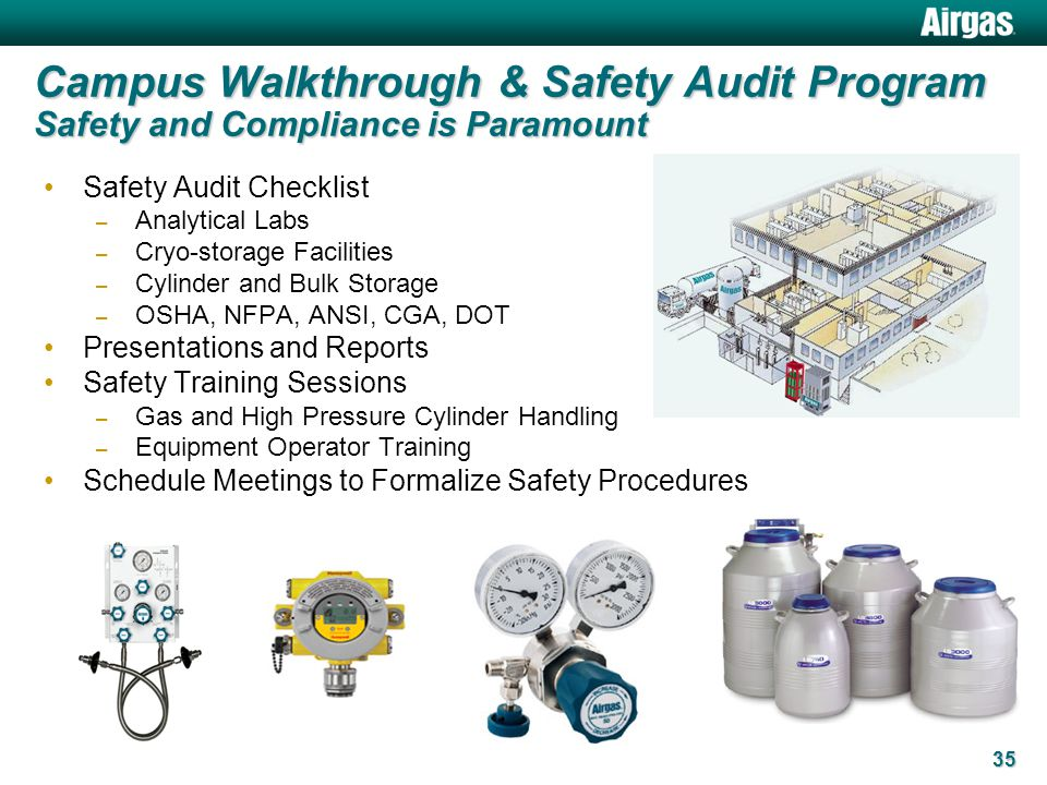 Campus Walkthrough & Safety Audit Program Safety and Compliance is Paramount Safety Audit Checklist – Analytical Labs – Cryo-storage Facilities – Cyli