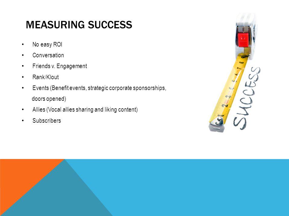 MEASURING SUCCESS No easy ROI Conversation Friends v.