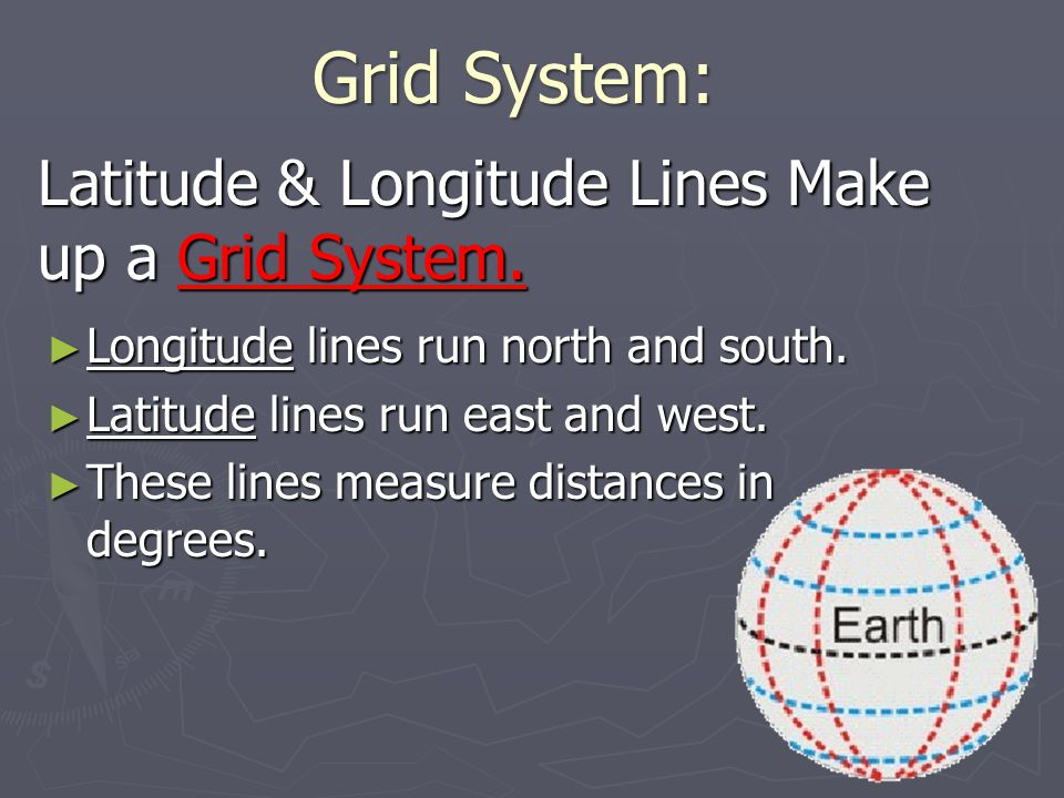 Latitude & Longitude Lines Make up a Grid System.► Longitude lines run north and south.