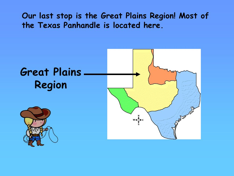 Our last stop is the Great Plains Region.Most of the Texas Panhandle is located here.