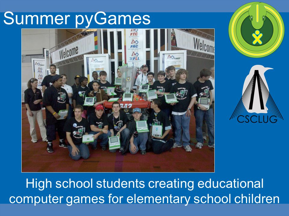 Summer pyGames High school students creating educational computer games for elementary school children